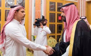 Saudi Crown Prince Mohammed bin Salman meets with Khashoggi family in Riyadh, Saudi Arabia 23 October, 2018