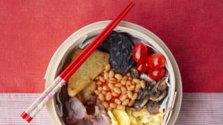 Bowl of food from different nationalities