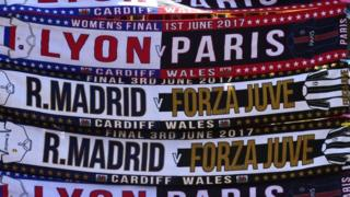 Scarves on sale in the city of Cardiff