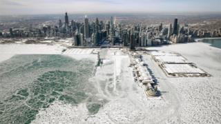Chicago skyline with lake frozen