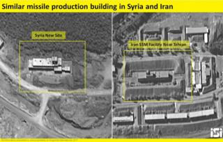 Pictures reportedly taken from an Israeli satellite show what ImageSat International said was the site of an Iranian missile production facility currently being built near the town of Baniyas in north-western Syria (16 August 2017)