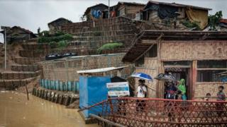 Huts in Cox's Bazar refugee village
