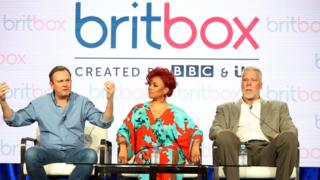 The cast of the television show Living The Dream promoting BritBox on 9 February 2019 in Pasadena, California