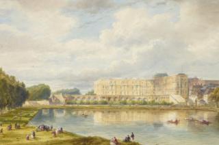 The Orangerie and Piece d'Eau des Suisses at Versailles by Pierre-Justin Ouvrié
