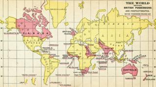 An old map showing the British Empire