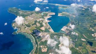 An aerial view of U.S. Naval Base Guam September 20, 2006.