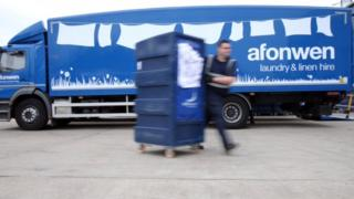 Afonwen lorry delivering linen