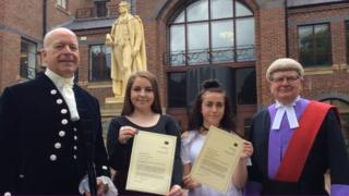 (L-R) Cumbria High Sheriff Alistair Wannop, Emelia Austin, Kacey-leigh Wildgoose and Judge Tony Lancaster
