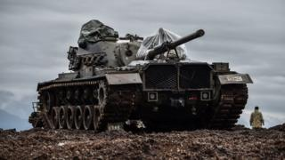 تانک ارتش ترکیه در منطقه عفرین