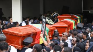 Les funérailles nationales des victimes du crash d'Ethiopian Airlines à la cathédrale d'Addis Abeba le 17 mars