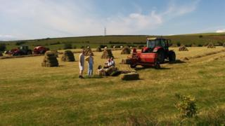 Time for tea for these farmers during a hot day of hay bailing