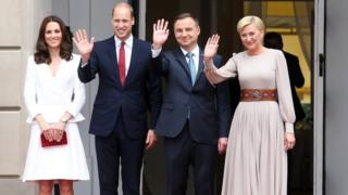 "Polish President Andrzej Duda (2-R) and his wife Agata Kornhauser-Duda (R), Britain""s Prince William, Duke of Cambridge (2-L) and Catherine, Duchess of Cambridge (L) during the official welcome ceremony at the Presidential Palace in Warsaw, Poland,"