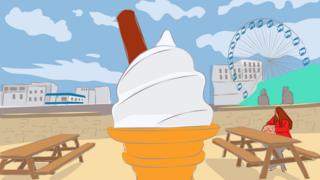 Illustration of an ice cream at the British seaside