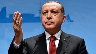 Turkey's President Recep Tayyip Erdogan attends a press conference at the G20 Summit in Hamburg, Germany, on 8 July, 2017.