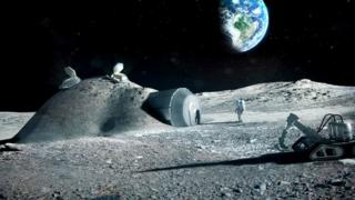 An artist's impression of how settlements on the Moon could one day look