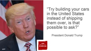 "Portrait of Donald Trump alongside quote: ""Try building your cars in the United States instead of shipping them over, is that possible to ask?"""
