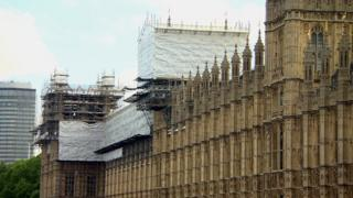 Scaffolding at the Houses of Parliament