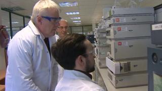 Carwyn Jones visiting a Deeside pharmaceutical firm