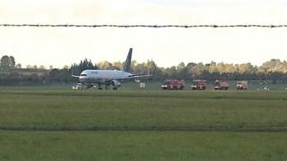 Flight UA76 being towed at Shannon Airport