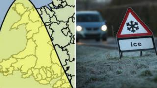 A weather map for Wales and a sign warning of ice