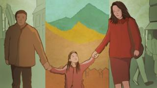 Illustration: a family walking while holding hands