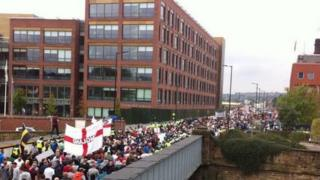 EDL march on Main Street, Rotherham by police station and council offices