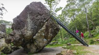 Bowder Stone with metal ladder