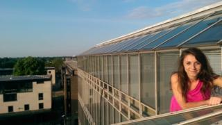 Rebecca Wetten atop the Faculty of History