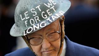 File photo shows an Australian war veteran wearing a helmet commemorating the battle of Long Tan