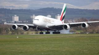 A380 at Glasgow Airport in 2014