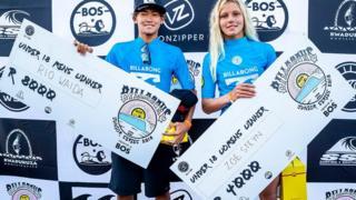 Ballito Pro winners Rio Waida and Zoe Steyn