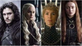 Jon Snow, Daenerys Targaryen, Cersei Lannister e Sansa Stark