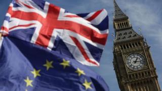 Big Ben con banderas británica y europea.