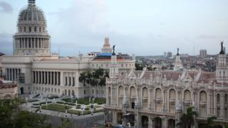 The National Capitol Building and the Gran Teatro de la Habana Alicia Alonso on the Paseo del Prado boulevard in Havana
