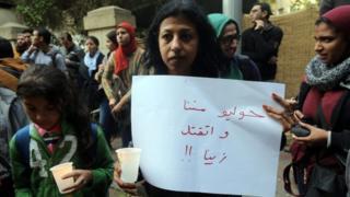 Activist at memorial gathering for Giulio Regeni in Cairo