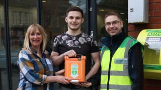 Sally Naden, BBC Radio Lancashire presenter, Callum Walton (Vic assistant manager), Mark Jarnell (community first responder)
