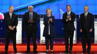 "Democratic presidential candidates Jim Webb, u.s. Sen. Bernie Sanders (I-VT), Hillary Clinton, Martin O""Malley and Lincoln Chafee take part in presidential debate"