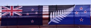 New Zealand's existing flag and the Silver Fern on display in Wellington