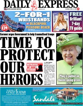 Daily Express front page, 13/4/19