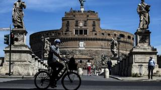 Cyclist on a street in Rome. 8 May 2020