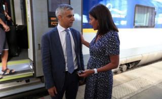 Mayor of London Sadiq Khan is greeted by Mayor of Paris Anne Hidalgo at Gare du Nord in Paris