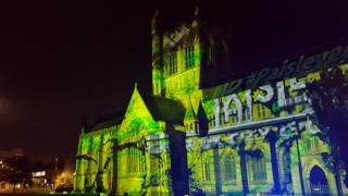Paisley Abbey lit up.