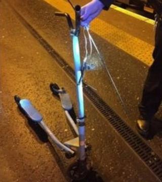 Child's scooter thrown at train