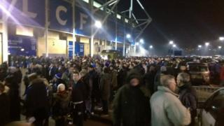 Crowds outside Leicester City's stadium