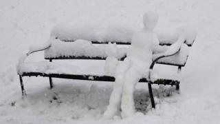 A snowman and snow-cat sat on a bench in Bristol.