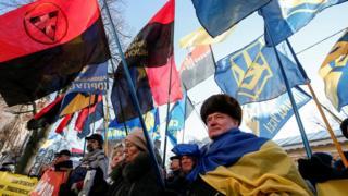 Українські націоналісти протестують проти польського закону про Інститут національної пам'яті біля посольства Польщі в Києві, 5 лютого