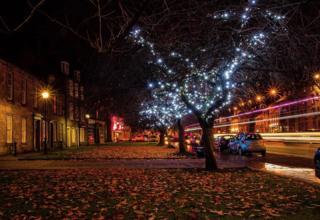 Illuminated street in Musselburgh
