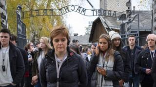 Nicola Sturgeon with students in Auschwitz