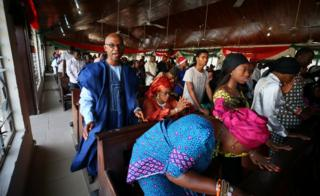 Worshippers are seen during New Year Mass at the Holy Rosary parish Wuse zone 2, in Abuja, Nigeria January 1, 2019.