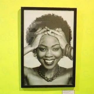 Sur le mur, une succession de photographies d'hommes et de femmes ayant des cheveux naturels.